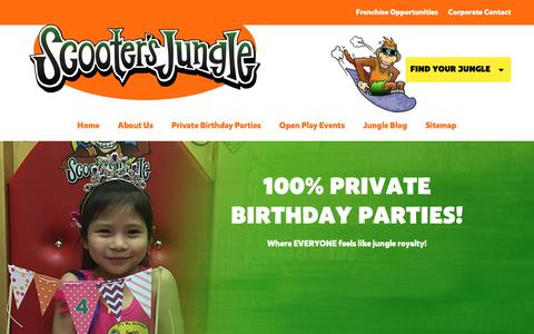 Screenshot of Home Page scootersjungle.com - The Best Kid's Indoor Party for Birthdays | Scooter's Jungle - captured Nov. 6, 2018