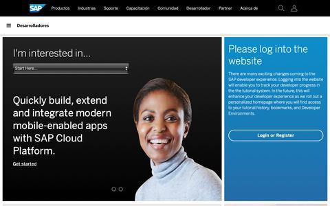 Screenshot of Developers Page sap.com - Recursos para desarrolladores de SAP | SAP - captured Oct. 21, 2018