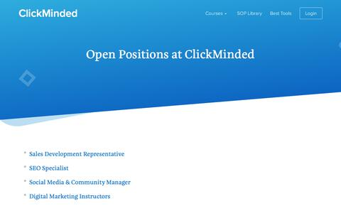 Screenshot of Jobs Page clickminded.com - Jobs - ClickMinded - captured March 13, 2018