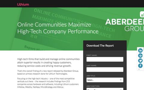 Screenshot of Landing Page lithium.com - Aberdeen Group: Online Communities Maximize High-Tech Company Performance | Lithium Resources - captured March 14, 2016