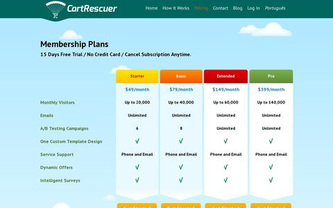 Screenshot of Pricing Page cartrescuer.com - E-commerce Shopping Cart Abandonment Solution, Pricing | CartRescuer - captured July 19, 2014