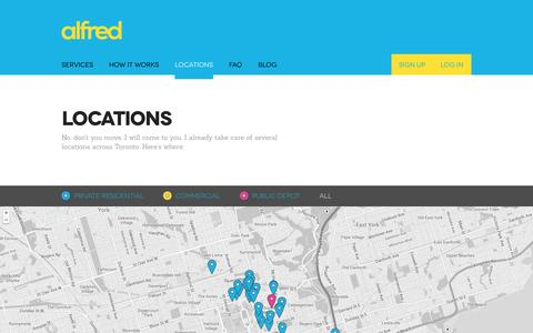 Screenshot of Locations Page alfredservice.com - Alfred  | Locations - captured Oct. 4, 2014
