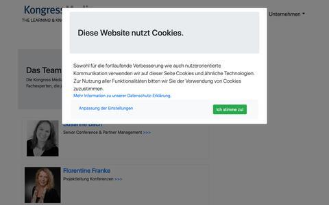Screenshot of Team Page kongressmedia.de - Kongress Media GmbH: Team - captured Oct. 16, 2018