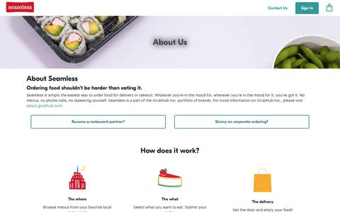 Screenshot of About Page seamless.com - About Seamless   Food Ordering For Restaurants That Deliver And Take Out - captured Sept. 28, 2017