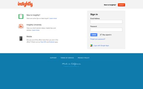 Screenshot of Login Page insightly.com - Insightly Login to Insightly - captured Oct. 22, 2014