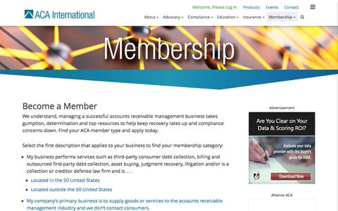 Screenshot of Signup Page acainternational.org - Become a Member | ACA - captured Sept. 22, 2018