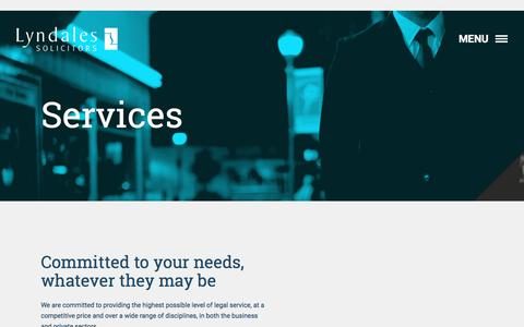 Screenshot of Services Page lyndales.co.uk - Services - Lyndales - captured Sept. 20, 2017