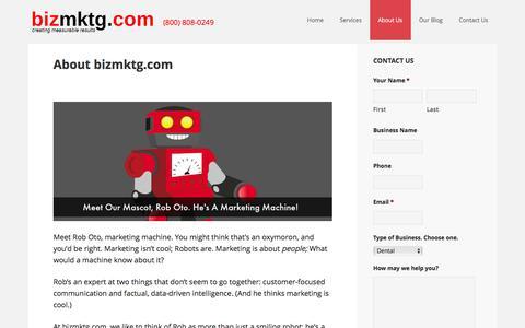 Screenshot of About Page bizmktg.com - About bizmktg.com - captured Feb. 7, 2016