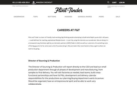 Screenshot of Jobs Page flintandtinderusa.com - Flint and Tinder - Proudly Made in America | Careers - captured Nov. 2, 2014