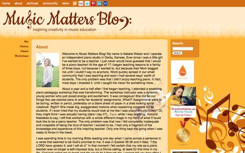 Screenshot of About Page musicmattersblog.com - About   Music Matters Blog - captured Sept. 20, 2018