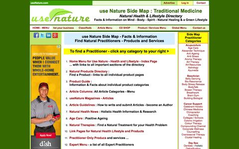 Screenshot of Site Map Page usenature.com - use Nature Side Map | Traditional Medicine | Natural Health Directory - captured Sept. 24, 2014