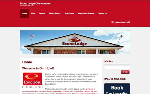 Screenshot of Home Page econolodgepei.com - Econo Lodge Charlottetown | Great stays start here - captured Oct. 1, 2014