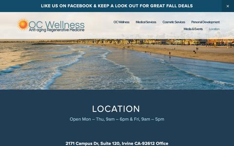 Screenshot of Contact Page Locations Page ocwellness.com - Location — OC Wellness - captured Oct. 19, 2018
