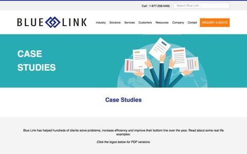 Screenshot of Case Studies Page bluelinkerp.com - Accounting & Inventory Case Studies - captured Feb. 7, 2016