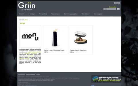 Screenshot of Menu Page griin-outdoor.com - Menu - Griin - captured Oct. 3, 2014
