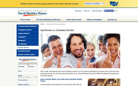 Screenshot of Support Page davidweekleyhomes.com - Commitment to Customer Service - David Weekley Homes - captured Sept. 19, 2014