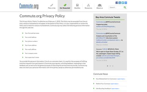 Screenshot of Privacy Page commute.org - Privacy Policy - captured Jan. 14, 2016