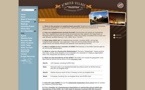Screenshot of FAQ Page atwatervillage.org - FAQ | Atwater Village Neighborhood Council - captured Feb. 6, 2016