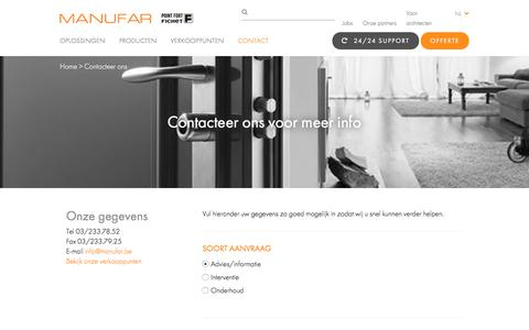 Screenshot of Contact Page manufar.be - Contacteer ons - Manufar - captured July 25, 2018
