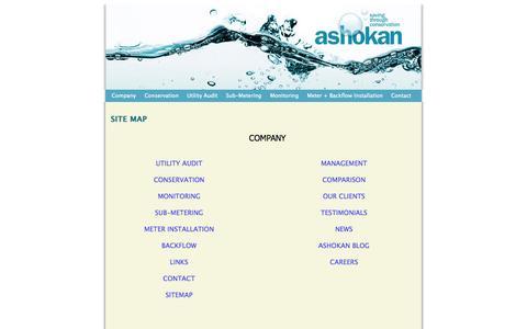 Screenshot of Site Map Page ashokansaves.com - Ashokan Water Services :: Sitemap - captured Oct. 4, 2014