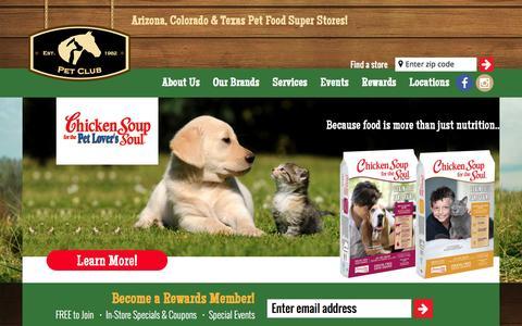 Screenshot of Home Page thepetclub.net - Pet Club | Arizona, Colorado & Texas Pet Food Super Stores! - captured Feb. 21, 2016