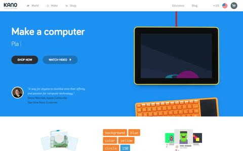 Screenshot of Home Page kano.me - Kano | Build-It-Yourself Computer Kits & Coding For Kids Ages 6+ | Kano.me - captured May 24, 2017