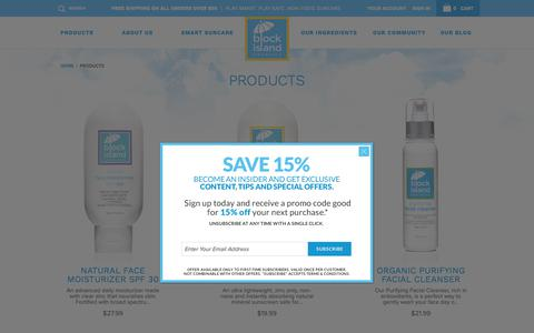 Screenshot of Products Page blockislandorganics.com - Products: Natural Mineral Sunscreen, Sunblock and Skin Care for Adults, Kids and Babies - Block Island Organics: Suncare + Skin Care + Sunscreen + Sunblock - captured Oct. 6, 2018