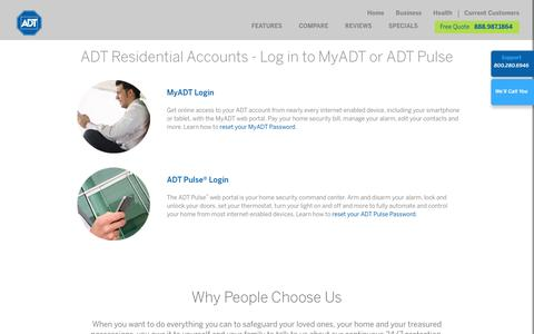 Screenshot of Trial Page adt.com - My ADT Account & ADT Pulse Login | ADT Security Services - captured Nov. 14, 2016