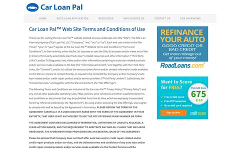 Screenshot of Terms Page carloanpal.com - Car Loans, Auto Loans - Car Loan Pal - captured July 16, 2018