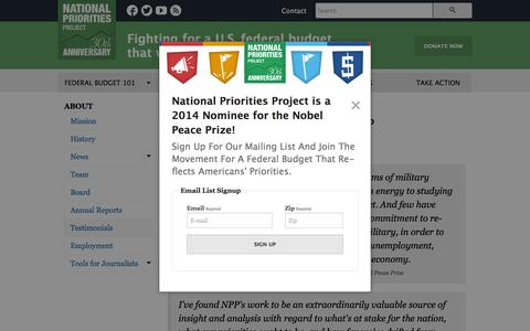 Screenshot of Testimonials Page nationalpriorities.org - What People are Saying About NPP - captured Sept. 23, 2014