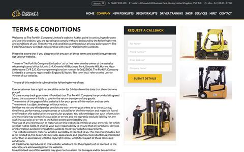 Screenshot of Terms Page theforkliftcompany.net - Terms & Conditions - The Forklift Company - captured Nov. 16, 2017