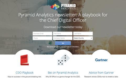 Screenshot of Landing Page pyramidanalytics.com - Gartner Newsletter - captured March 29, 2017