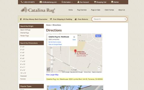 Screenshot of Maps & Directions Page catalinarug.com - Directions to Catalina Rug - captured Oct. 2, 2014