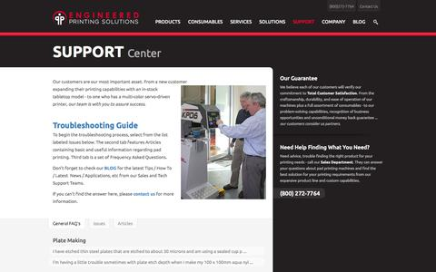 Screenshot of Support Page epsvt.com - Pad Printing Support | Engineered Printing Solutions - captured Sept. 25, 2014