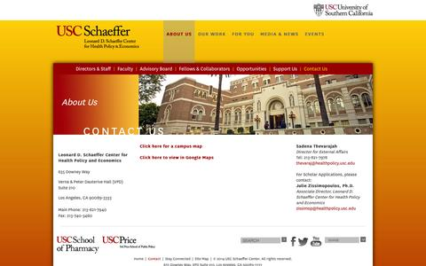 Screenshot of Contact Page usc.edu - ABOUT US - captured Sept. 18, 2014