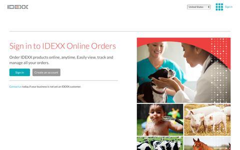 Screenshot of Login Page idexx.com - IDEXX Online Orders - captured Jan. 13, 2018