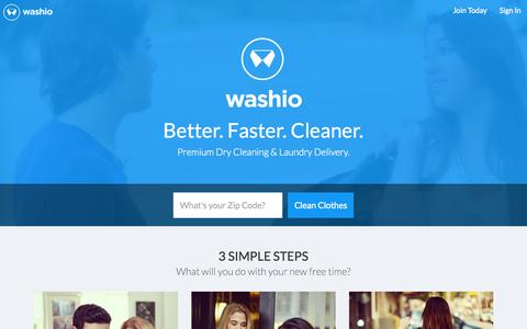 Screenshot of Home Page getwashio.com - Washio | Dry Cleaning and Laundry Delivered - captured Nov. 6, 2015