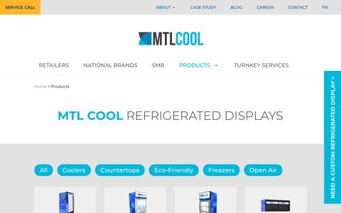 Screenshot of Products Page mtlcool.com - Products | Refrigerated Display | MTL COOL - captured July 26, 2018