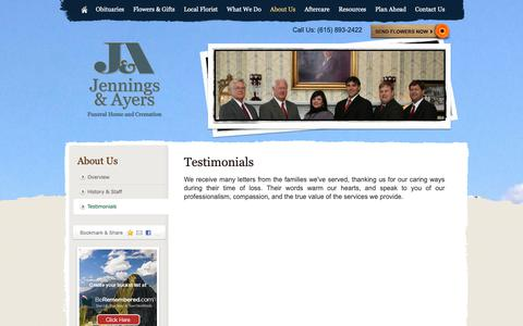 Screenshot of Testimonials Page jenningsandayers.com - Testimonials | Jennings and Ayers Funeral Home and Cremation - Murfreesboro, TN - captured Oct. 13, 2018