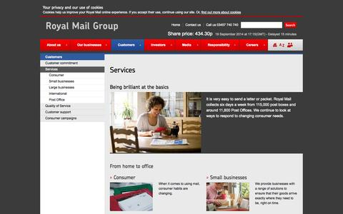 Screenshot of Services Page royalmailgroup.com - Customer services | Royal Mail Group - captured Sept. 23, 2014