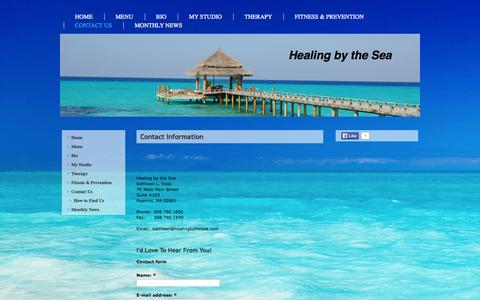 Screenshot of Contact Page healingbythesea.com - Contact Us - Healing by the Sea - captured Sept. 29, 2014