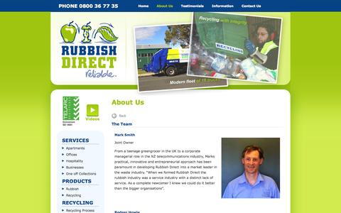 Screenshot of Team Page rubbishdirect.co.nz - Waste disposal, management & recycling services in Auckland - Rubbish Direct - captured Oct. 7, 2014