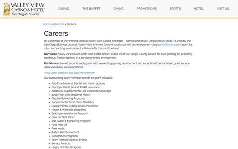 Screenshot of Jobs Page valleyviewcasino.com - San Diego Casino Jobs | Valley View - captured Nov. 13, 2017