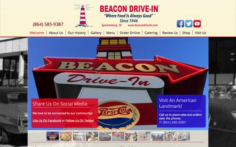 Screenshot of Home Page beacondrivein.com - The Beacon Drive-In | Spartanburg, SC - captured June 19, 2015