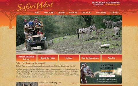 Screenshot of Home Page safariwest.com - Safari WestSafari West | An authentic African adventure - captured Sept. 19, 2014