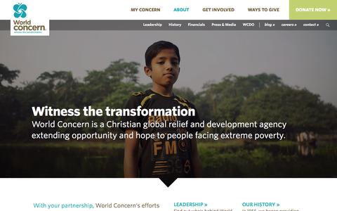 Screenshot of About Page worldconcern.org - About Us | World Concern - captured Oct. 26, 2014
