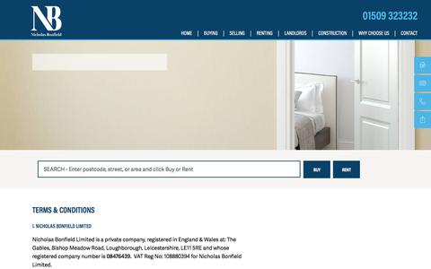 Screenshot of Terms Page nicholasbonfield.com - Terms & Conditions   Nicholas Bonfield - captured Feb. 28, 2016