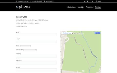 Screenshot of Contact Page sphera.com.au - Contact - Sphera - captured Feb. 15, 2016