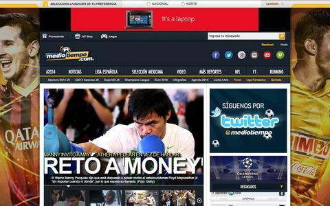 Screenshot of Home Page mediotiempo.com - Medio Tiempo la Casa del Futbol - captured Sept. 19, 2014