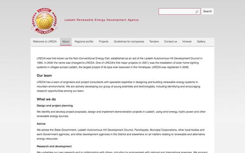 Screenshot of About Page ladakhenergy.org - About | Ladakh Renewable Energy Development Agency - captured Oct. 1, 2014